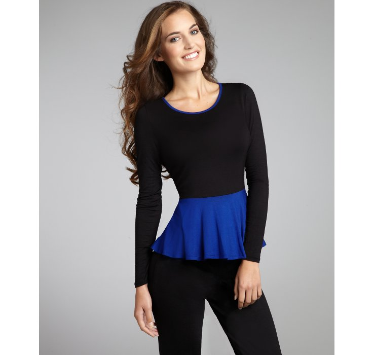 eqzoomCasual Couture by Green Envelope: black and sapphire colorblock long sleeve peplum top85